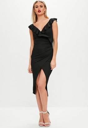 Missguided Black Crepe Wrap Tea Midi Dress
