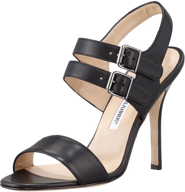 Manolo Blahnik Bakhita Double-Buckle Sandal, Black
