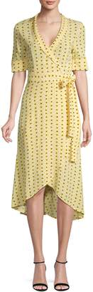 Ganni Polka Dot High-Low Wrap Dress