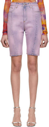 MSGM Purple Denim Bermuda Shorts