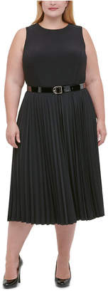 Tommy Hilfiger Plus Size Jersey Pleated Midi Dress