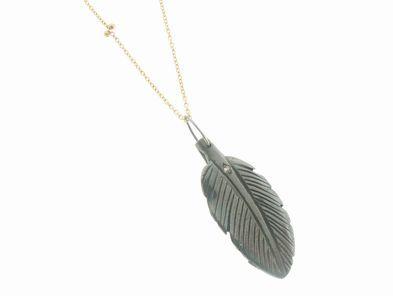 Vanessa Jenik Oxidized Leaf Penadnt on Gold Chain