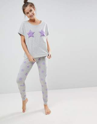Asos Placement Fluffy Star Tee & Legging Pajama Set