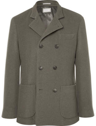 Brunello Cucinelli Green Unstructured Double-Breasted Cashmere Blazer - Green