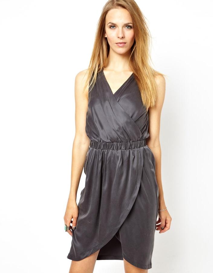 POP Cph Sand-Washed Silk Draped Dress