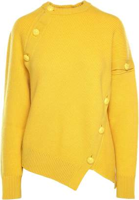 Cédric Charlier Button-embellishment Cashmere And Wool-blend Jumper
