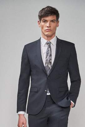 Next Mens Navy Slim Fit Wool Blend Stretch Suit: Jacket - Blue