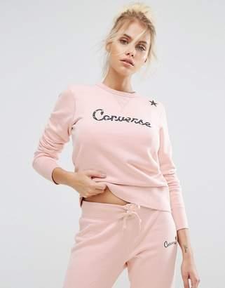 Converse Essentials Star Graphic Crew Sweatshirt In Pink