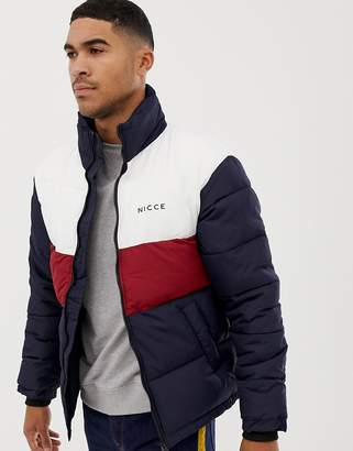 Nicce London puffer jacket in navy with contrasting panels