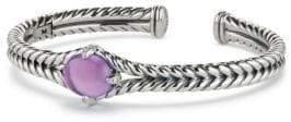 David Yurman Chatelaine Sterling Silver, Cabochon Blue Topaz& Diamond Bracelet