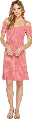 Three Dots Women's Stripe Cold Shoulder Dress