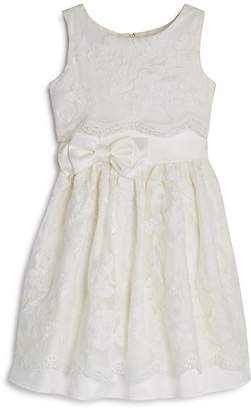 Us Angels Girls' Satin Lace-Overlay Dress - Little Kid