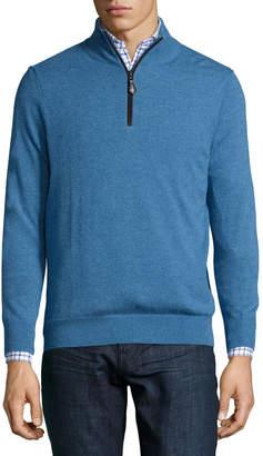 Neiman Marcus Nano-Cashmere 1/4-Zip Sweater Pullover, Blue