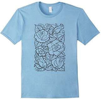 Floral Design Self Coloring T-Shirt