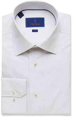 David Donahue Men's Trim-Fit Micro-Check Dress Shirt