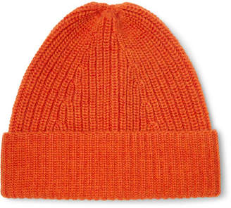 The Workers Club - Ribbed Merino Wool Beanie - Orange