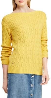 Lauren Ralph Lauren Cable-Knit Boatneck Cotton Sweater
