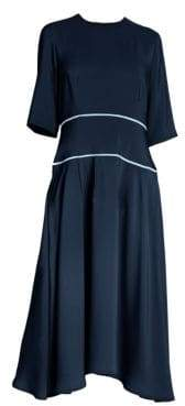 Marni Women's Relaxed-Fit Contrast Trim Dress - Navy Blue - Size 46 (10)