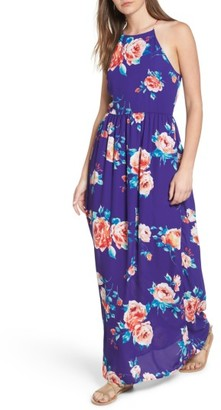 Women's Everly Floral High Neck Maxi Dress $59 thestylecure.com