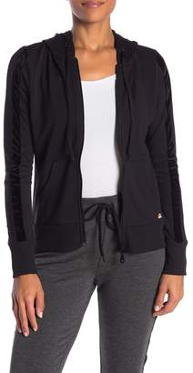C&C California Velvet & Mesh Stripe Hoodie Jacket