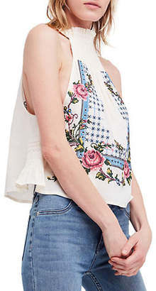 Free People Honey Pie Embroidered Linen-Blend Tank Top