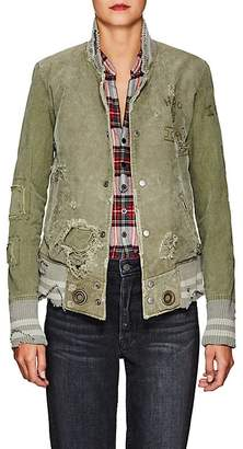 Greg Lauren Women's Army Cotton Canvas Varsity Jacket