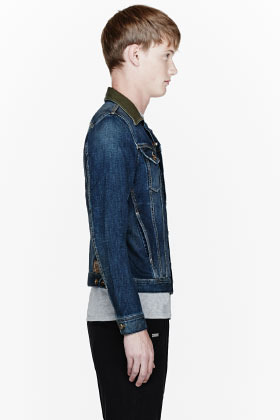 Diesel Blue leather-collared ELSHAR denim jacket