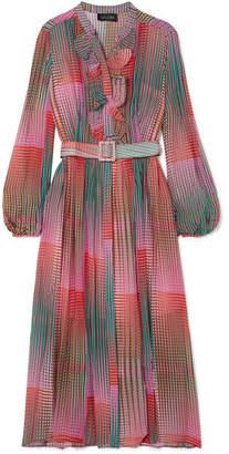 Saloni Raquel Ruffled Printed Silk-chiffon Dress