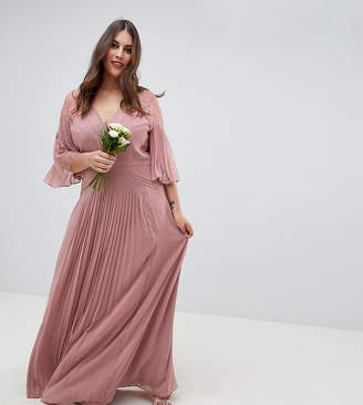 Asos Design Curve Bridesmaid Pleated Panelled Flutter Sleeve Maxi Dress With Lace Inserts