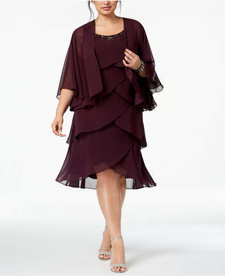 Sl Fashions Plus Size Tiered Chiffon Dress & Jacket