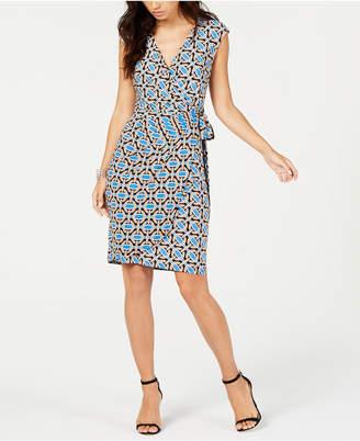 INC International Concepts I.n.c. Short-Sleeve Faux-Wrap Dress