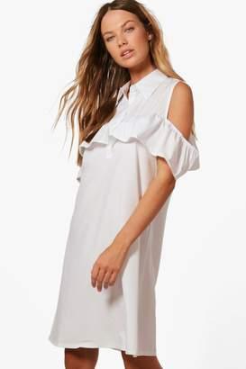 boohoo Abi Ruffle Could Shoulder Shirt Dress