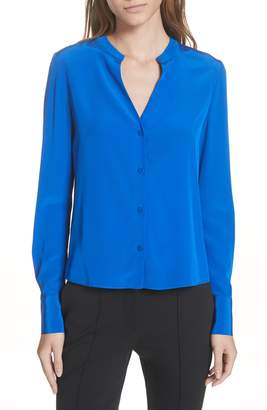 Diane von Furstenberg Front Button Collarless Silk Blouse