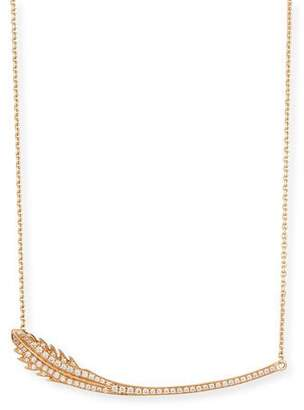 Mimi So Phoenix 18K Rose Gold Feather Necklace with Diamonds