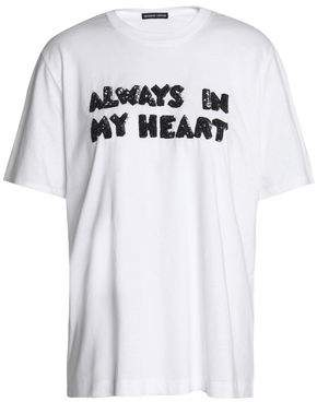 Markus Lupfer Alex Always In My Heart Embellished Cotton-Jersey T-Shirt