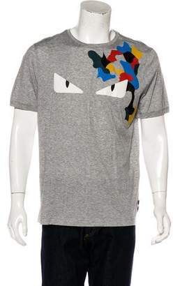 Fendi Leather-Accented Monster T-Shirt