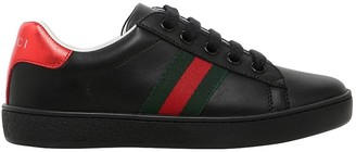 Gucci Web Detail Leather Lace-Up Sneakers