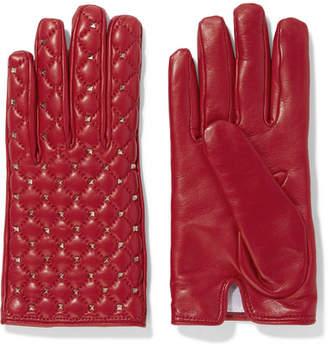 Valentino Garavani The Rockstud Leather Gloves - Red