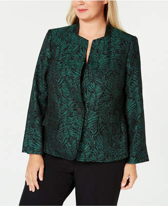 Kasper Plus Size One-Button Jacquard Jacket