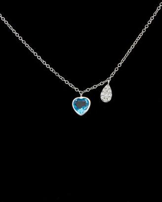 Meira T 14K 0.83 Ct. Tw. Diamond & Topaz Heart Necklace