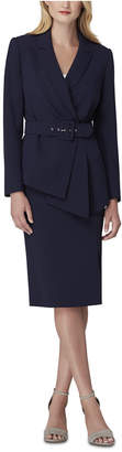 Tahari ASL Petite Asymmetrical Belted Skirt Suit