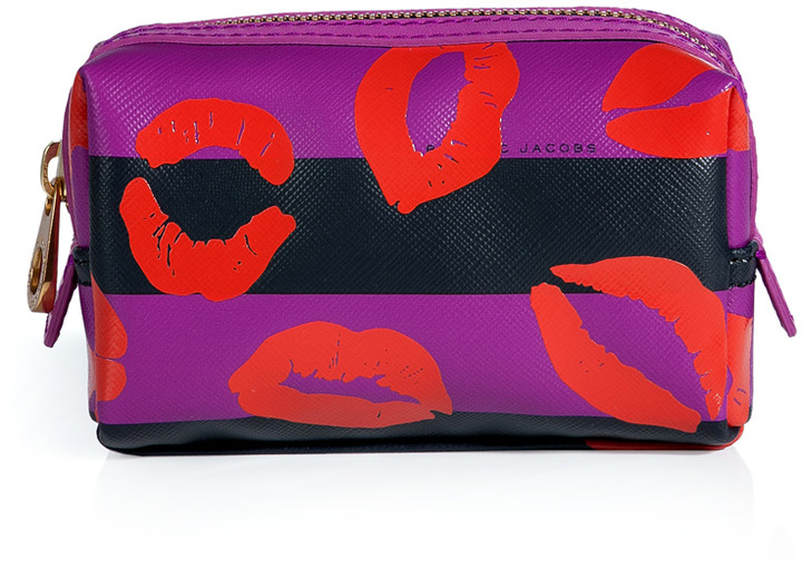 Marc by Marc Jacobs Royal Fuchsia Multi Stripey Lips PVC Cosmetic Case
