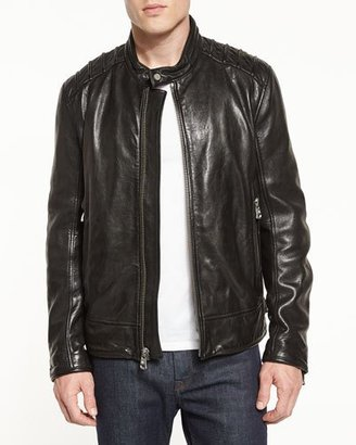 Andrew Marc Boarder Leather Moto Jacket, Jet Black $695 thestylecure.com
