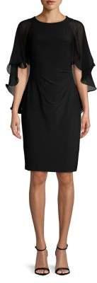 Lauren Ralph Lauren Sleeveless Caped Seath Dress