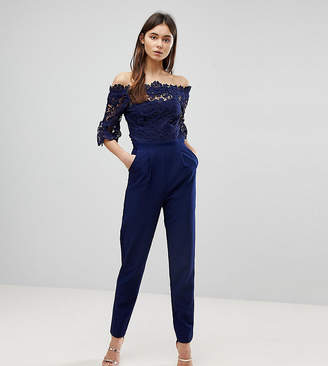 Paper Dolls Tall Bardot Cutwork Lace Tailored Jumpsuit