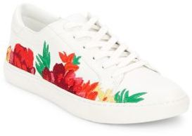 Calf Hair Trimmed Lace-Up Sneakers $120 thestylecure.com
