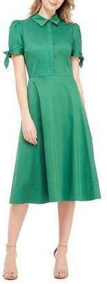Gal Meets Glam Button-Front Puff-Sleeve Soft Sateen Shirtdress