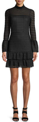 Parker Topanga Bell-Sleeve Flounce Mini Dress