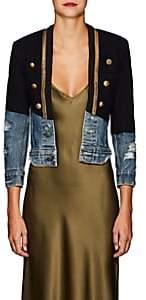 Greg Lauren Women's Denim-Paneled Wool Felt Sailor Jacket - Navy