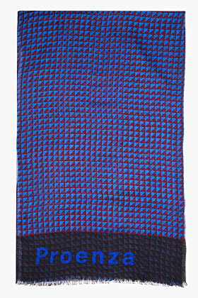 Proenza Schouler Cobalt Triangle Print Cashmere Logo Scarf